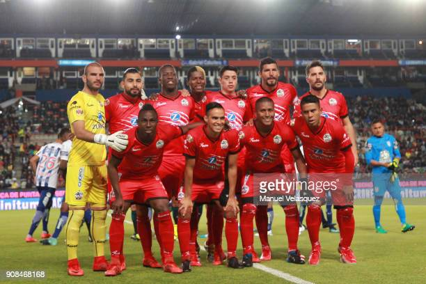 Players of Lobos BUAP pose prior the 3rd round match between Pachuca and Lobos BUAP as part of the Torneo Clausura 2018 Liga MX at Hidalgo Stadium on...