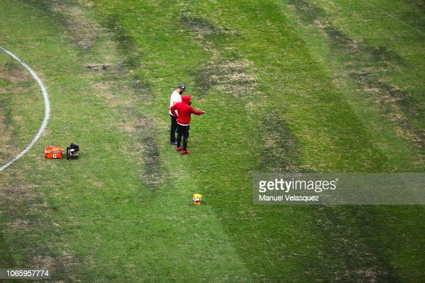 Players of Lobos BUAP warms up prior to the 16th round match between Cruz Azul and Lobos BUAP as part of Torneo Apertura 2018 Liga MX at Azteca...