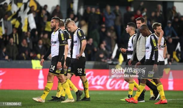 Players of Lokeren look dejected during the Jupiler Pro League match between KSC Lokeren OV and RSC Anderlecht at Daknamstadion on March 3, 2019 in...