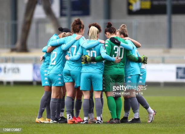 Players of London City Lionesses hold a pre match huddle during the Barclays FA Women's Championship match between London City Lionesses and...