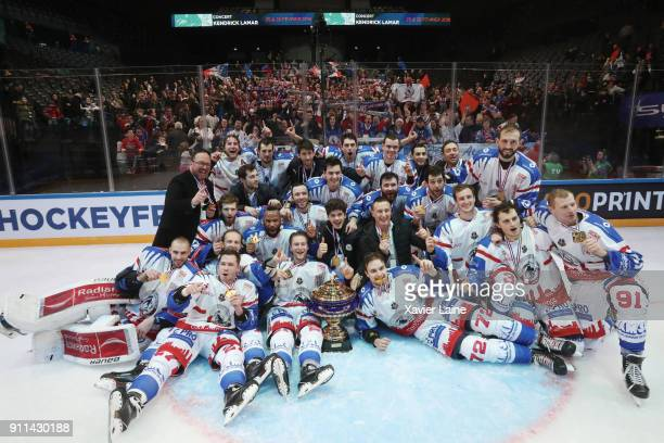 Players of Lyon celebrate with the cup after the French National Cup finale betwenn Rapaces De Gap vs Lions De Lyon at AccorHotels Arena on January...