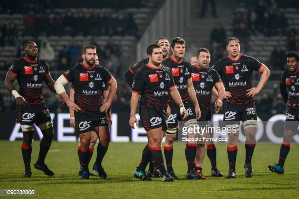 Players of Lyon LOU during the French Top 14 Rugby match between Lyon OU and Racing 92 at Gerland Stadium on January 26 2019 in Lyon France