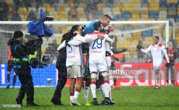 Players of Lyon react after the UEFA Champions League Groupe F football match FC Shakhtar Donetsk and Olympique Lyonnais on NSK Olimpiyskyi stadium...