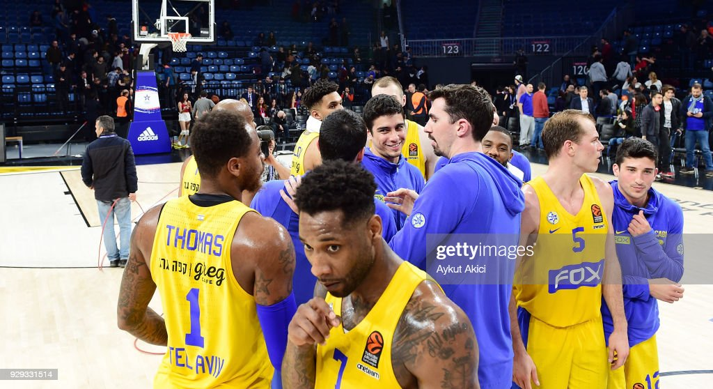 Players of Maccabi Fox Tel Aviv celebrate their victory during the 2017/2018 Turkish Airlines EuroLeague Regular Season Round 25 game between Anadolu Efes Istanbul and Maccabi Fox Tel Aviv at Sinan Erdem Dome on March 8, 2018 in Istanbul, Turkey.