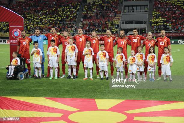 Players of Macedonia National Football Team line up ahead the FIFA 2018 World Cup Qualifiers Group G match between Macedonia and Spain at Philip II...