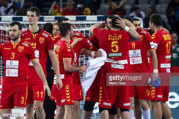 Players of Macedonia react after the Men's Handball European Championship Group C match between Germany and FYR Macedonia at Arena Zagreb on January...