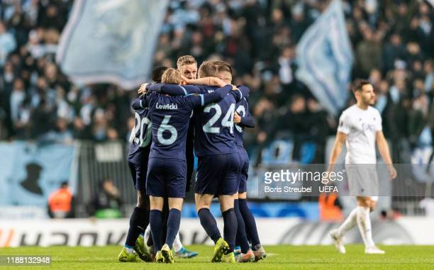 Players of Malmo FF celebrate after winning the UEFA Europa League group B match between FC Kobenhavn and Malmo FF at Telia Parken on December 12,...