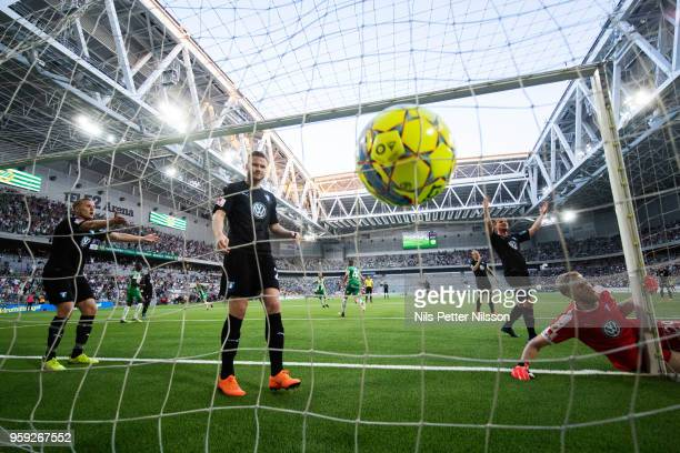 Players of Malmo FF dejected since Nikola Djurdjic of Hammarby has scored to 22 during the Allsvenskan match between Hammarby IF and Malmo FF at...