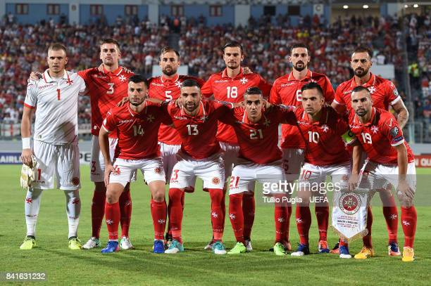 Players of Malta pose for a team shot during the FIFA 2018 World Cup Qualifier between Malta and England at Ta'Qali National Stadium on September 1...