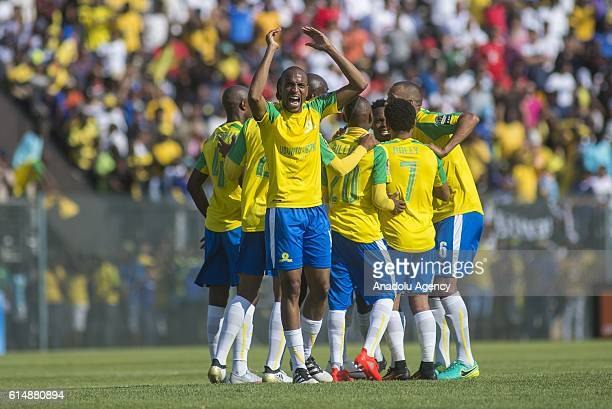 Players of Mamelodi Sundowns celebrate after scoring a goal during the CAF Champions League match between Mamelodi Sundowns and Zamalek at Lucas...