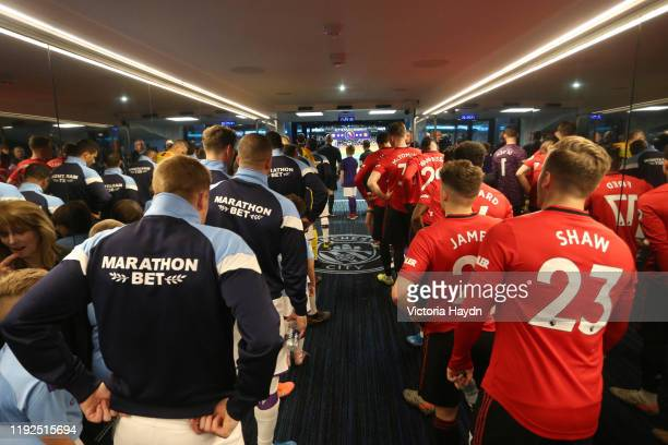 Players of Manchester City and Manchester United wait in the tunnel prior to the Premier League match between Manchester City and Manchester United...