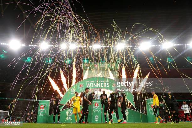 Players of Manchester City celebrate following the Carabao Cup Final between Aston Villa and Manchester City at Wembley Stadium on March 01, 2020 in...