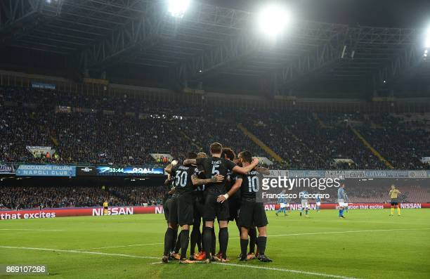 Players of Manchester City celebrate the 11 goal scored by Nicolas Otamendi during the UEFA Champions League group F match between SSC Napoli and...