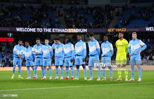 Players of Manchester City line up ahead of the Carabao Cup Third Round match between Manchester City and Wycombe Wanderers F.C. At Etihad Stadium on...