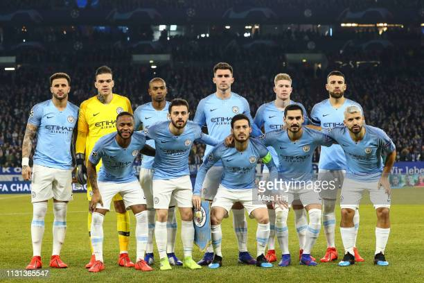 Players of Manchester City line up prior to the UEFA Champions League Round of 16 First Leg match between FC Schalke 04 and Manchester City at...