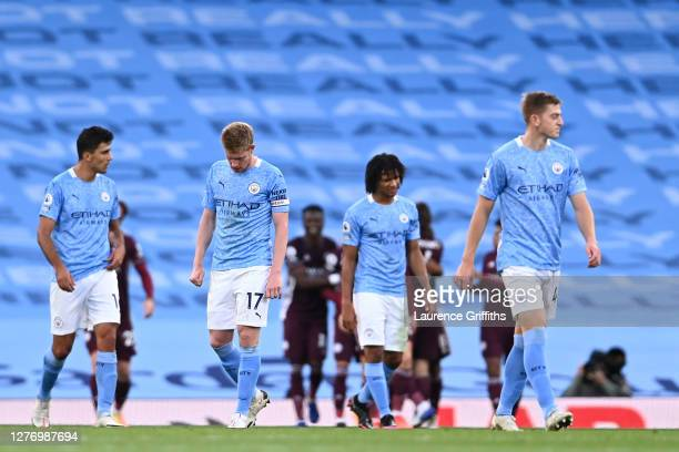 Players of Manchester City look dejected during the Premier League match between Manchester City and Leicester City at Etihad Stadium on September...