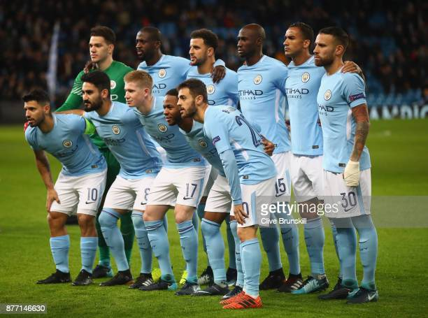 Players of Manchester City pose for a photo during the UEFA Champions League group F match between Manchester City and Feyenoord at Etihad Stadium on...