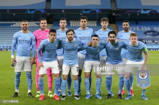 Players of Manchester City pose for a team photo prior to the UEFA Champions League Quarter Final match between Manchester City and Borussia Dortmund...