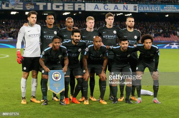 Players of Manchester City pose for photo prior the UEFA Champions League group F match between SSC Napoli and Manchester City at Stadio San Paolo on...