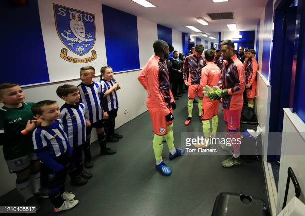 Players of Manchester City prepare to walk out inside the tunnel during the FA Cup Fifth Round match between Sheffield Wednesday and Manchester City...