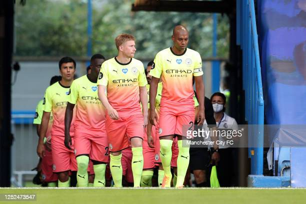 Players of Manchester City walk onto the pitch prior to the Premier League match between Chelsea FC and Manchester City at Stamford Bridge on June...