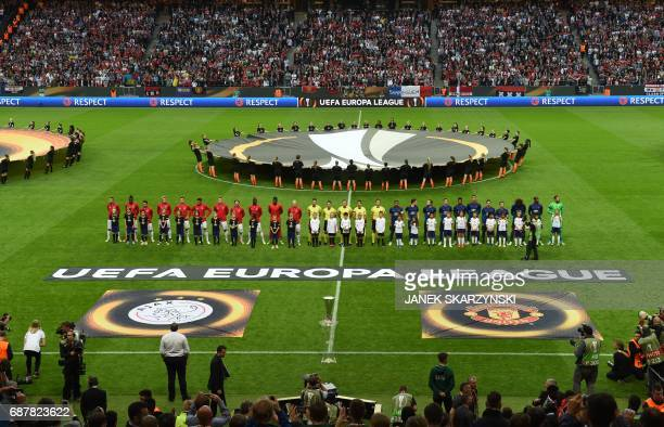 Players of Manchester United and of Ajax Amsterdam stand on the pitch prior to the UEFA Europa League final football match Ajax Amsterdam v...