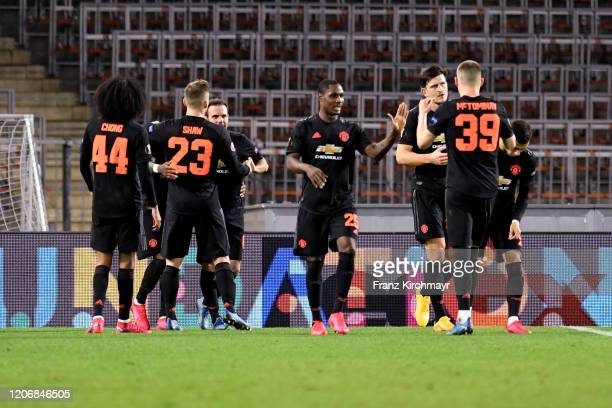 Players of Manchester United celebrate after scoring a goal at during UEFA Europa League Round of 16 First Leg match between LASK and Manchester...
