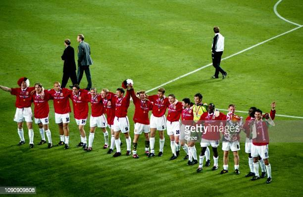 Players of Manchester United celebrate the victory during the UEFA Champions league final match between Manchester United and Bayern Munich on May 26...