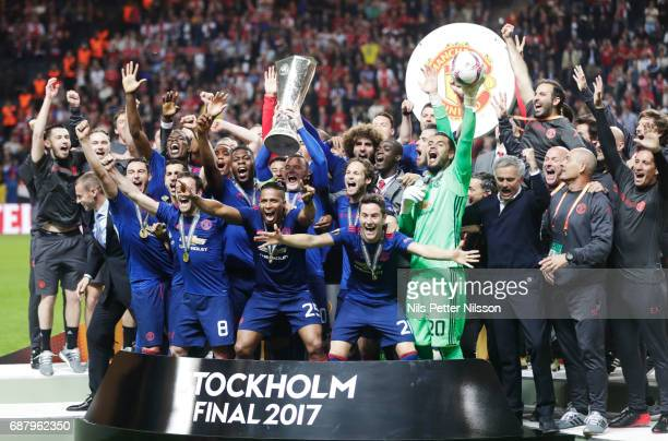 Players of Manchester United celebrates after the victory during the UEFA Europa League Final between Ajax and Manchester United at Friends Arena on...
