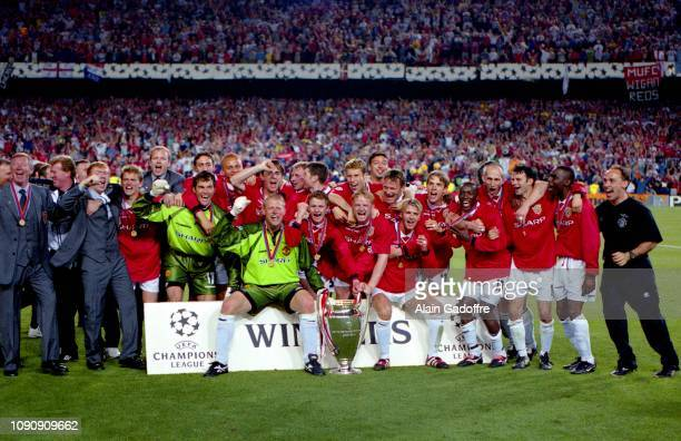 Players of Manchester United celebrates victory during the UEFA Champions league final match between Manchester United and Bayern Munich on May 26...