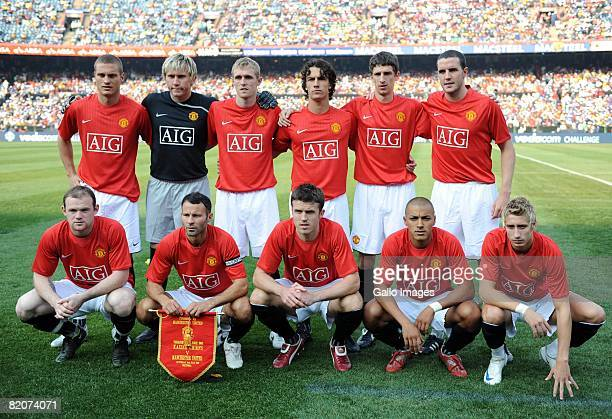 Players of Manchester United line up for a team photograph during the Vodacom Challenge preseason friendly match between Kaizer Chiefs and Manchester...