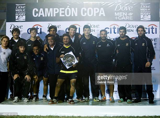 Players of Mar del Plata pose for a photo after winning the national teams silver cup final match between Paraguay and Mar del Palta as part of Dove...