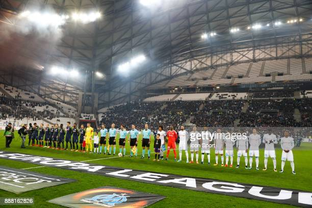 Players of Marseille and Salzburg during the Uefa Europa League match between Olympique de Marseille and Red Bull Salzburg at Stade Velodrome on...