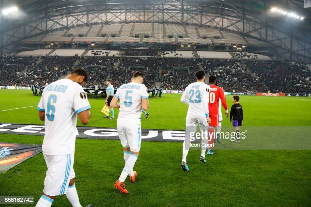 Players of Marseille during the Uefa Europa League match between Olympique de Marseille and Red Bull Salzburg at Stade Velodrome on December 7 2017...