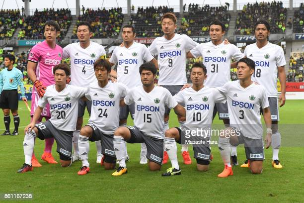 Players of Matsumoto Yamaga pose for photograph prior to the JLeague J2 match between JEF United Chiba and Matsumoto Yamaga at Fukuda Denshi Arena on...