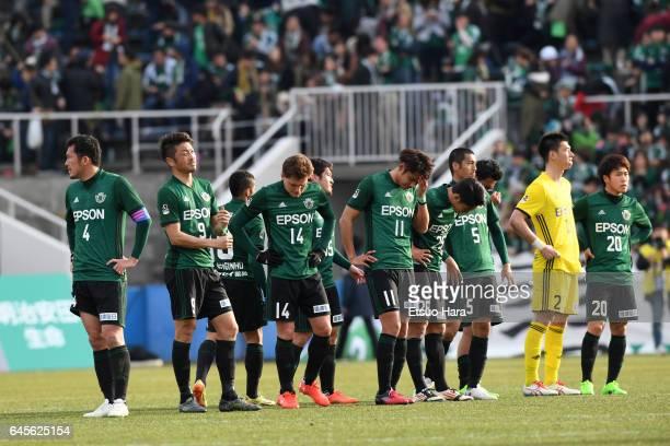 Players of Matsumoto Yamaga show dejection after the JLeague J2 match between Yokohama FC and Matsumoto Yamaga at Nippatsu Mitsuzawa Stadium on...