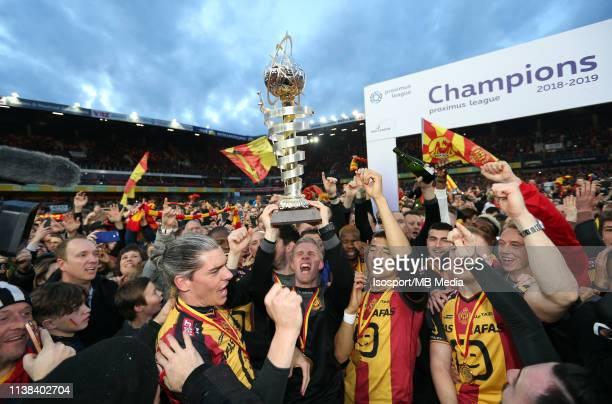 Players of Mechelen celebrate after winning the Proximus League test match between Kv Mechelen and Kfco Beerschot Wilrijk on March 16, 2019 in...