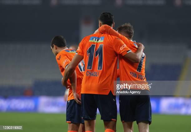 Players of Medipol Basaksehir celebrate after Nacer Chadli scored a goal during Turkish Super Lig match between Medipol Basaksehir and Kasimpasa at...