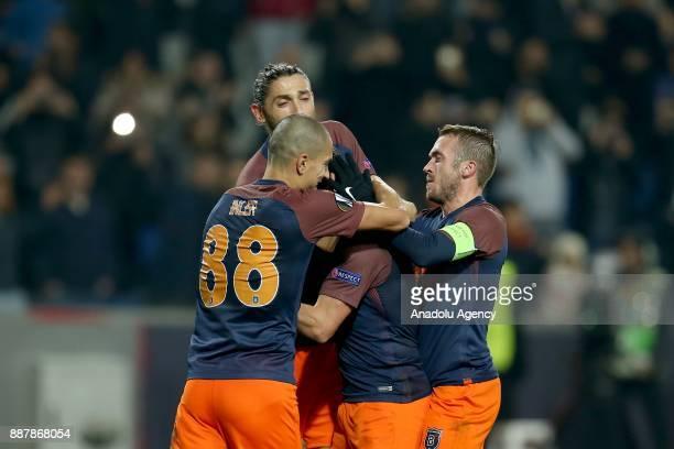 Players of Medipol Basaksehir celebrate after scoring a goal during UEFA Europa League Group C soccer match between Medipol Basaksehir and Braga at...