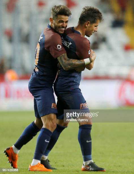 Players of Medipol Basaksehir celebrate after the goal during the Turkish Super Lig match between Antalyaspor and Medipol Basaksehir at Antalya...