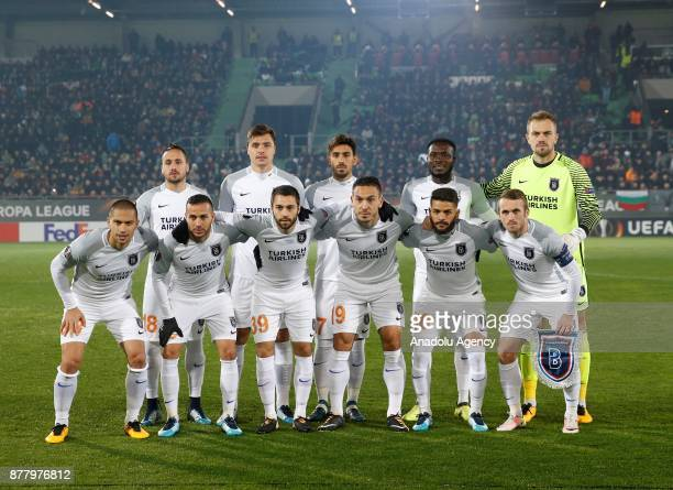 Players of Medipol Basaksehir pose for a photo ahead of the UEFA Europa League Group C soccer match between Ludogorets and Medipol Basaksehir at...