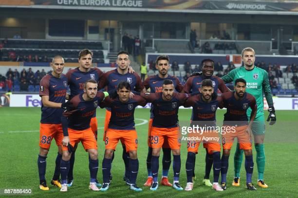 Players of Medipol Basaksehir pose for a team photo during UEFA Europa League Group C soccer match between Medipol Basaksehir and Braga at the Fatih...