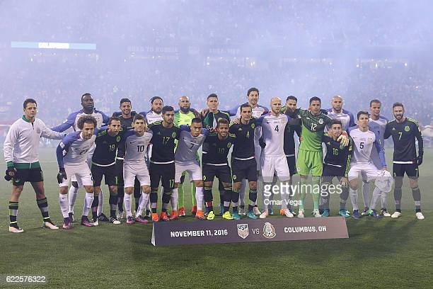 Players of Mexico and USA pose together prior the match between USA and Mexico as part of FIFA 2018 World Cup Qualifiers at MAPFRE Stadium on...