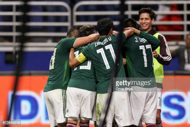 Players of Mexico celebrate their first goal scored by Hugo Ayala during the friendly match between Mexico and Bosnia and Herzegovina at Alamodome...