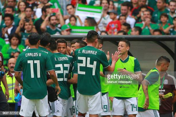 Players of Mexico celebrates a scored goal by Giovani Dos Santos during the International Friendly match between Mexico and Scotland at Estadio...