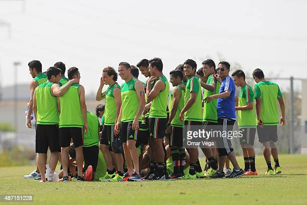 Players of Mexico gather during a Mexico training session at Money Gram Soccer Park on September 06 2015 in Atlanta United States