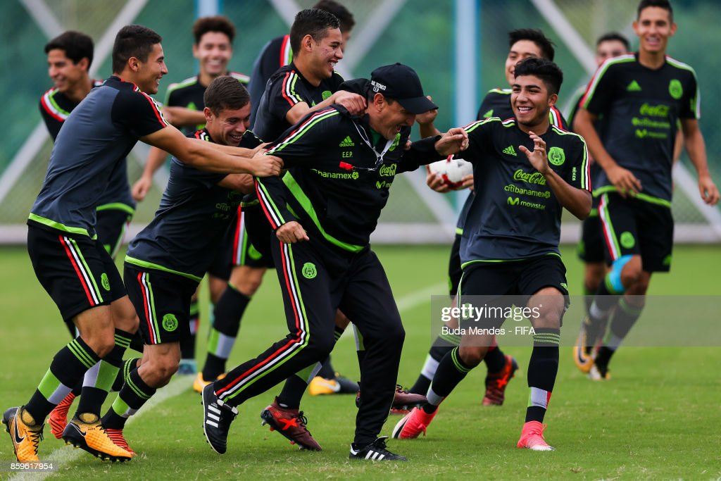 Players of Mexico joke during their training session ahead of the FIFA U-17 World Cup India 2017 tournament at Kolkata 1 Training Centre on October 10, 2017 in Kolkata, India.