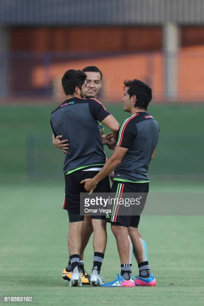 Players of Mexico make jokes during the Mexico National Team training session ahead it's match against Honduras at Grand Canyon University on July 19...