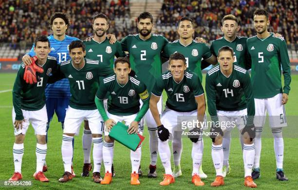 Players of Mexico pose for a photo ahead of the international friendly match between Belgium and Mexico at King Baudouin Stadium in Brussels Belgium...
