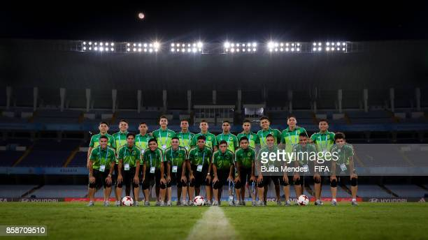 Players of Mexico pose for photographers during their training session ahead of the FIFA U17 World Cup India 2017 tournament at Salt Lake Stadium or...